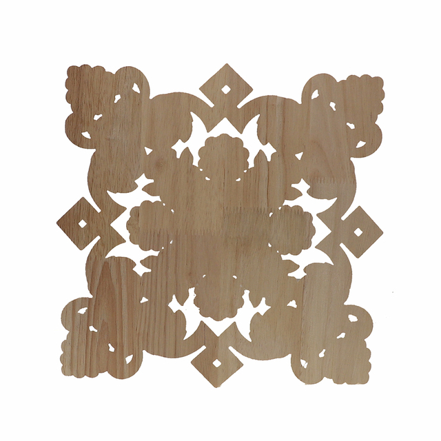 RUNBAZEF Square Unpainted Wood Carved Decal Corner Onlay Applique Frame For Home Furniture Wall Cabinet Door Decor Crafts 6