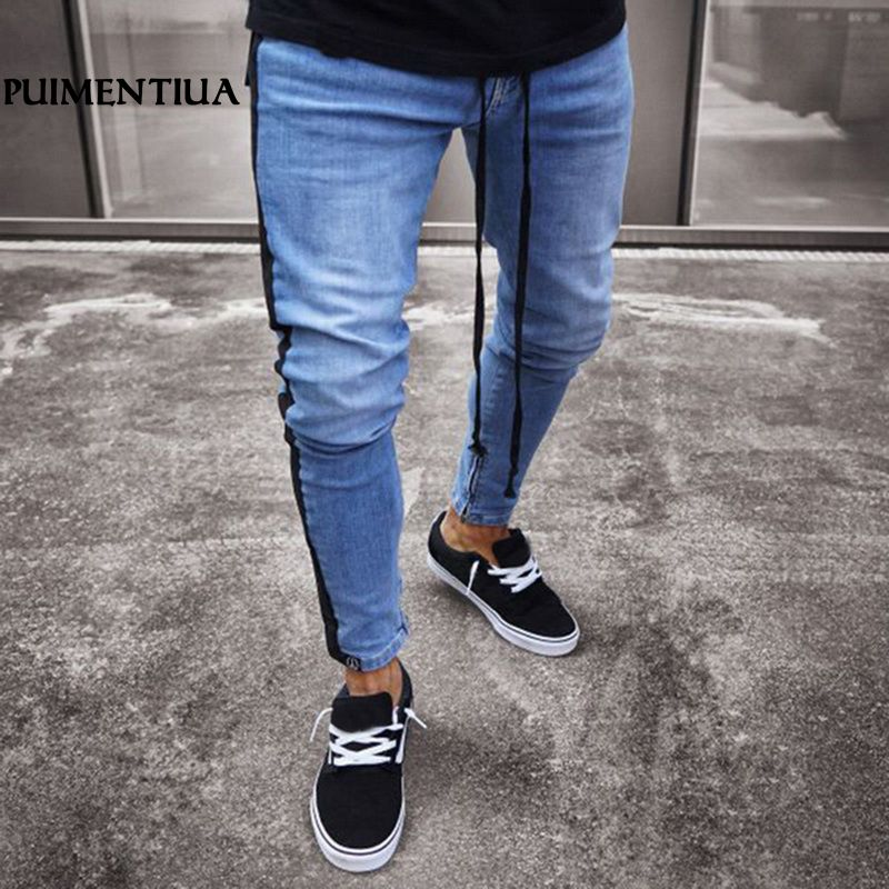 22f3c61003be Puimentiua Side Striped Mens Jeans Patchwork Trousers with Holes Male Denim  ...
