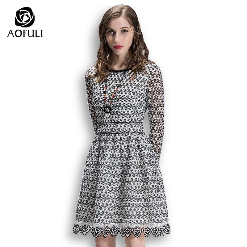 AOFULI Women Black White Hollow Out Lace Dress Spring Long Sleeves Casual  Dress Plus Size Lady Clothing S- XXL XXXL 4XL 7001 146bfb8074f3