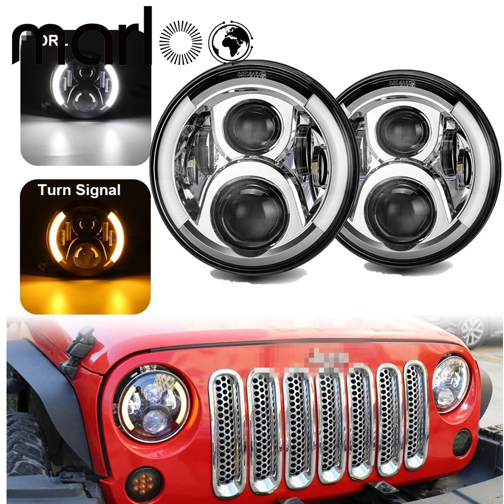 Marloo DOT 7 Inch 120W 9000 Lumens Hi/Lo Beam LED Headlights With Side Halo Ring DRL Turn Signal For Jeep Wrangler JK TJ LJ 7 inch 120w 9000 lumen hi lo beam led headlights with half top halo ring angel eyes drl turn signal for jeep wrangler jk tj lj