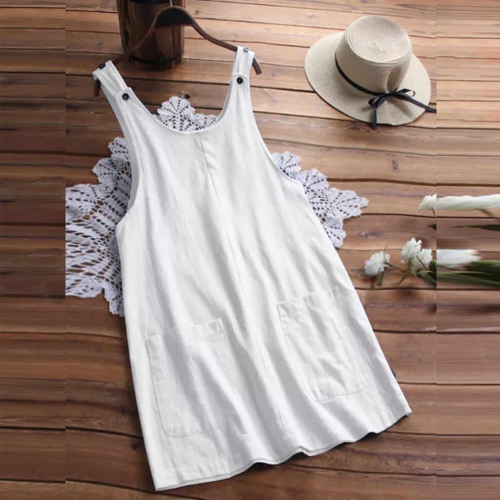 女性夏ホンダボタン綿ノースリーブポケット固体オーバーオールショートミニドレスエプロン夏のドレス 2019
