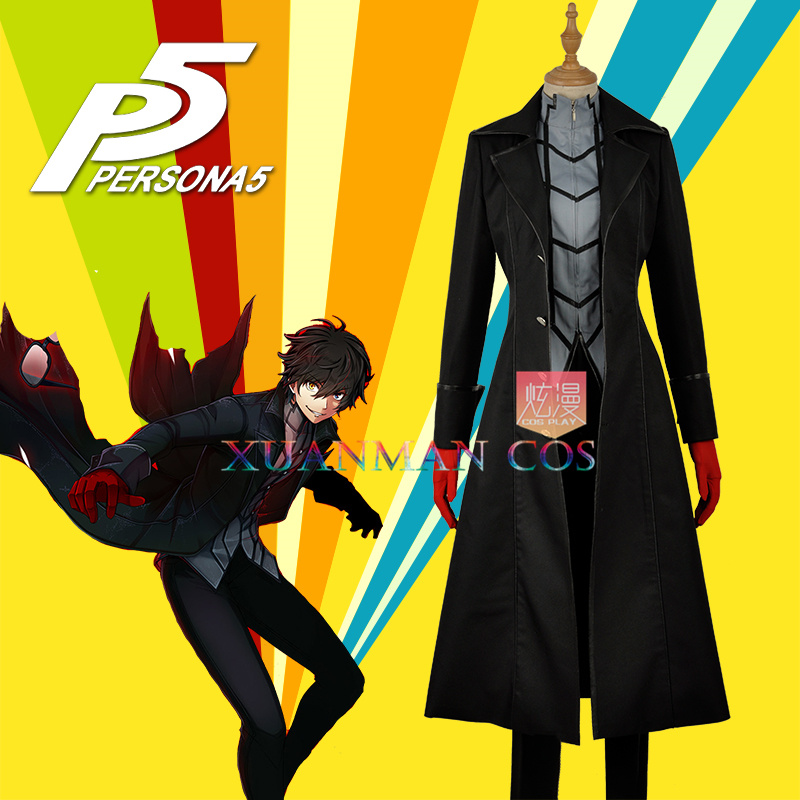 In Stock Persona 5 Hero Joker Phantom Thief Male Versions Cosplay Costume Custom Made Long Black