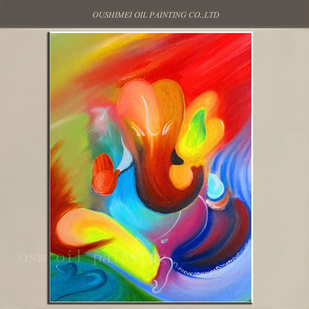 Top Artist Handmade High Quality Modern Abstract Elephant Ganesh Canvas  Picture Hand Painted Wall Art Hindu Deity Oil Painting