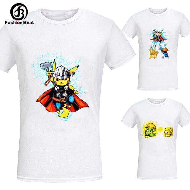 fc4a9c1e540e Creative Design The Avengers Pokemon T Shirt Summer Mens Thor Pikachu White Tee  Cute and Funny Cartoon T Shirts for Men Women