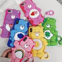 Милый Care Bears чехол для телефона для iphone 6 6 S 7 Plus 8 X Симпатичный силиконовый чехол-книжка для iphone XS Max XR