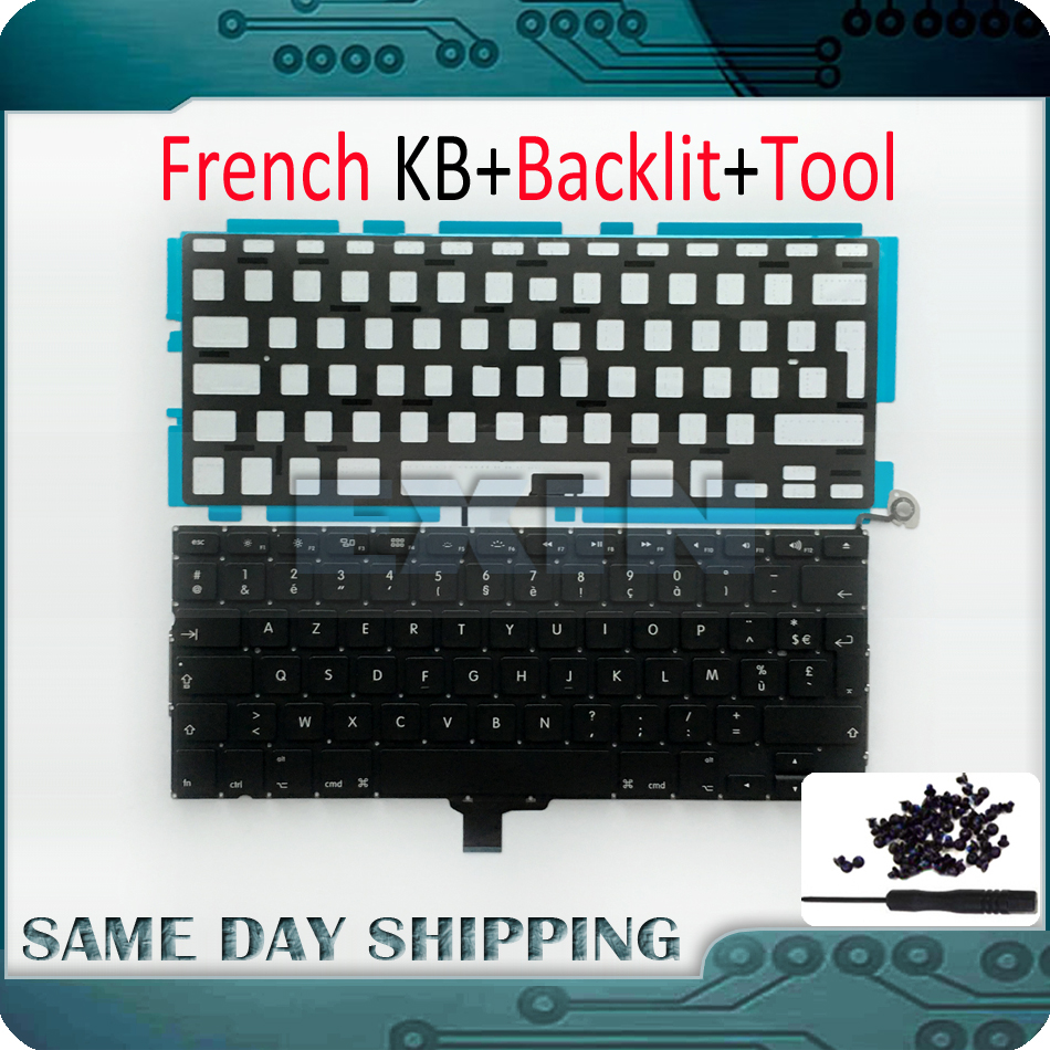 OEM NEW for Macbook Pro 13 A1278 FR French Keyboard French AZERTY Layout +Backlight Backlit+Screws 2009-2012 Year new laptop keyboard for sony vaio vpceb15fbbi fr french layout