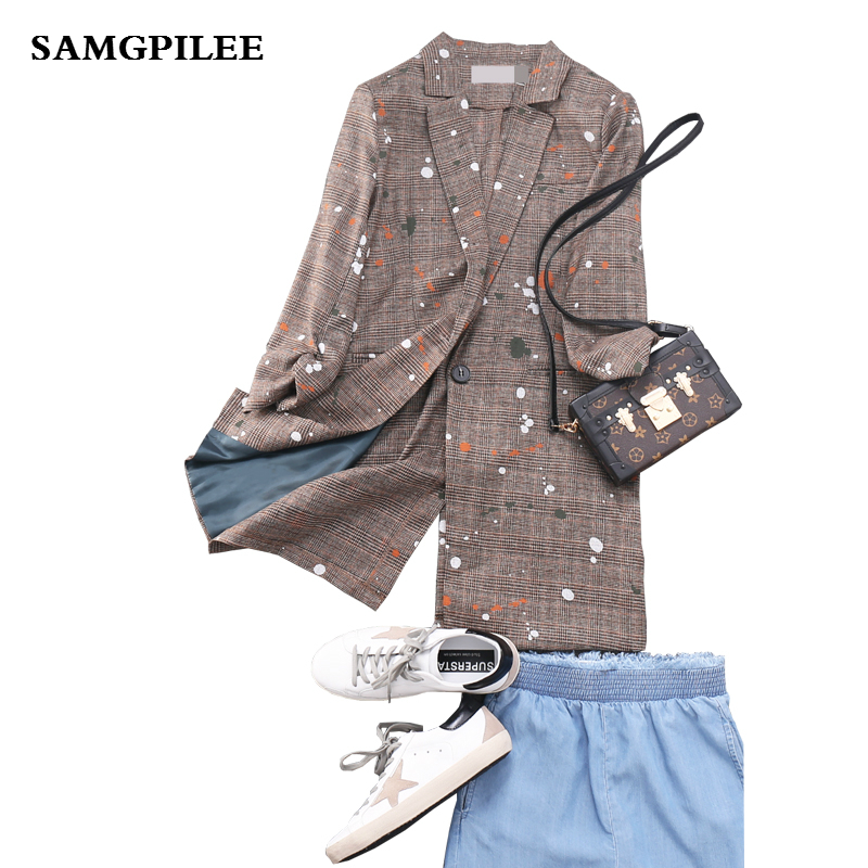 2019 New Spring and Summer  Three Quarter sleeve Long Plaid Single Button Notched Appliques Casual Women Blazers L-4XL