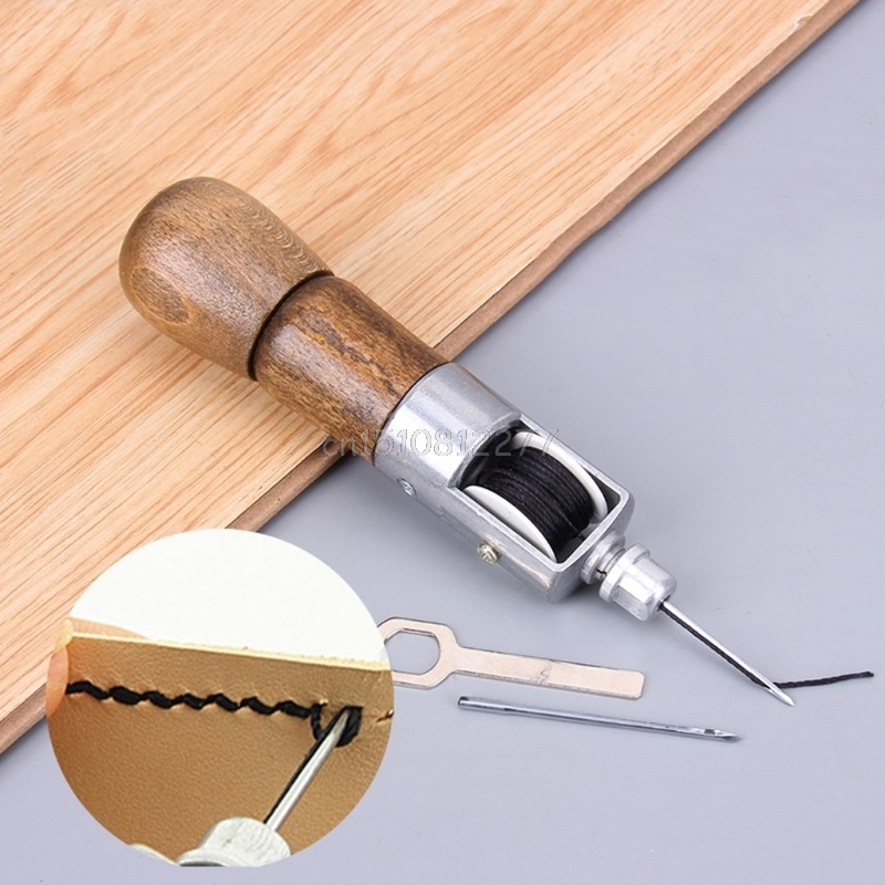 Leathercraft челночный стежок шитье Awl набор ниток Иглы Стежка Кожа Ткань Бакалея O27 17 дропшиппинг