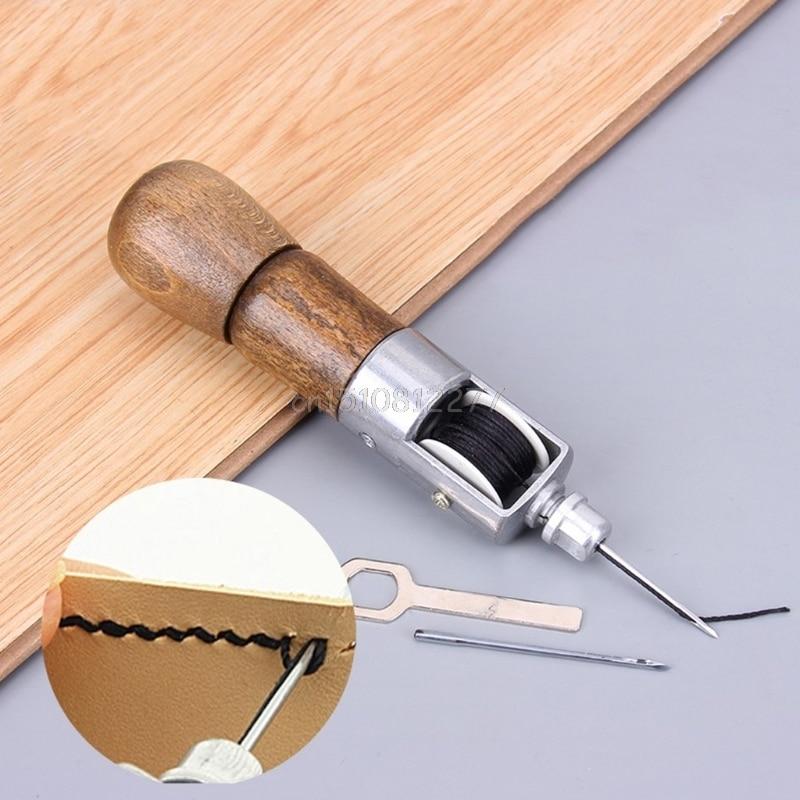 Leathercraft Lock Stitch Sewing Awl Thread Kit Needles Stitch Leather Fabric  #H0VH# Drop Shipping