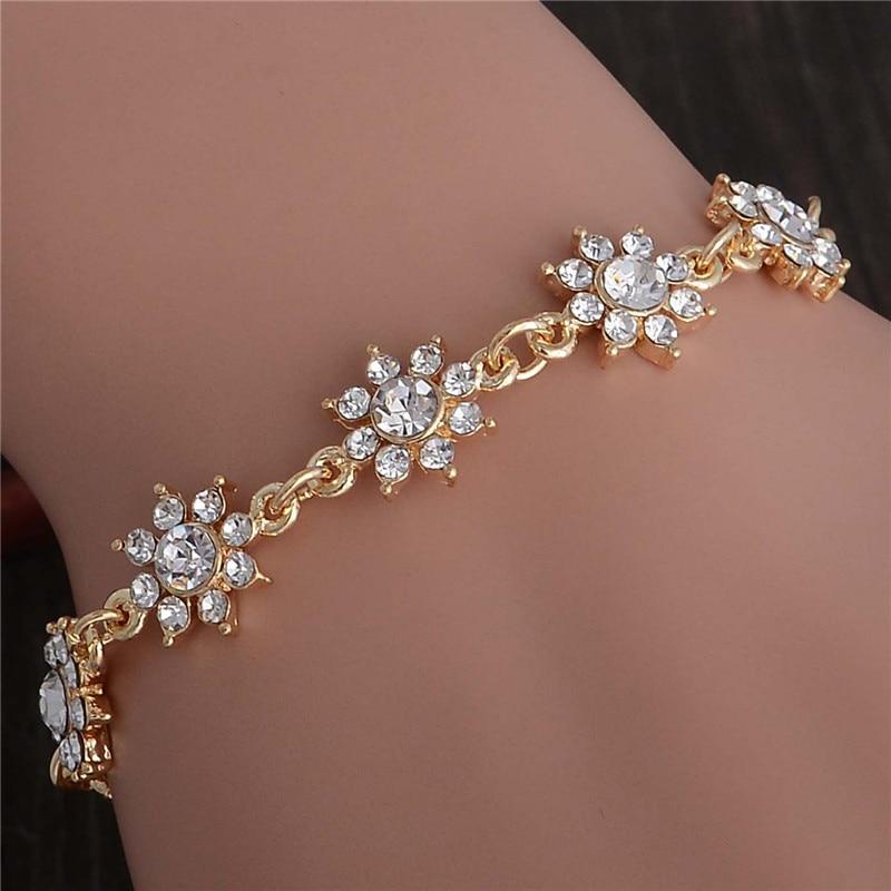 SHUANGR Wholesale Pretty Flower Gold-Color Charm Bracelets Girl Hand Bangle Austrian Crystal Women Fine Jewelry TL332