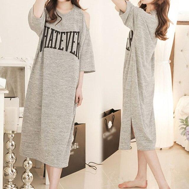 Maternity Midi Nursing Nightgowns Casual Off Shoulder Nightdress Plus Size Nightwear  Breastfeeding Pajamas Pregnancy Sleepwear 4840bb310