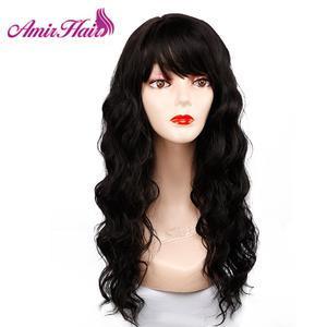 Image 4 - Długie naturalne fale peruki dla kobiet czarny brązowy Ombre blond peruka z grzywką Bob syntetyczne peruki do włosów Peruca Cosplay i imprezowa peruka