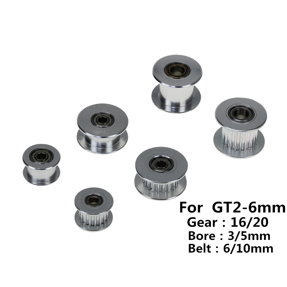 3D Printer GT2 Pulley 16/20 Without Teeth Pulley 16/20Teeth OR Without Teeth Timing Gear Bore 3/5mm for 2GT Belt Width 6/10mm 3d printer aluminum alloy 20 teeth timing belt pulley for s2m 2gt silver