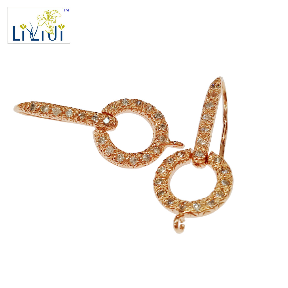 LiiJi Unique 925 Sterling Silver Rose Shining Earring Hook Jewelry Findings Accessories Part Components