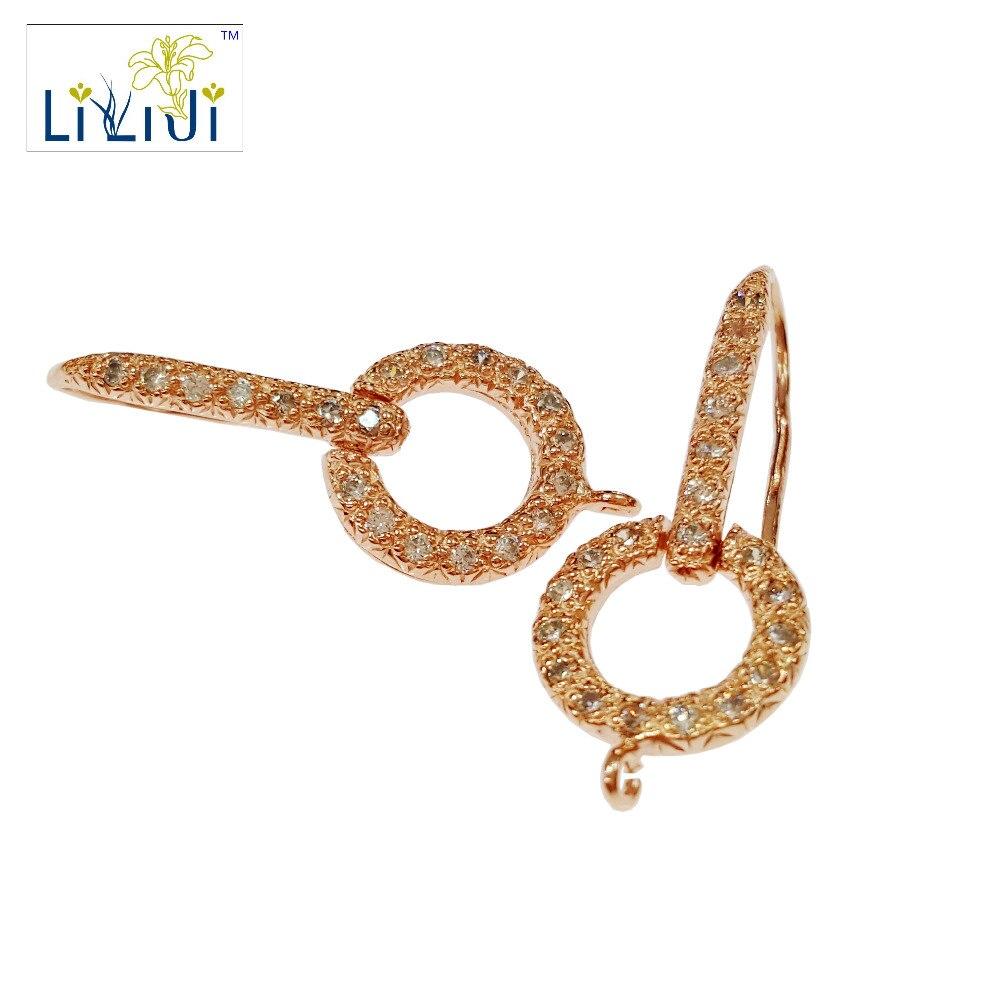 LiiJi Unique 925 en argent Sterling Rose brillant boucle d'oreille crochet bijoux résultats accessoires partie composants