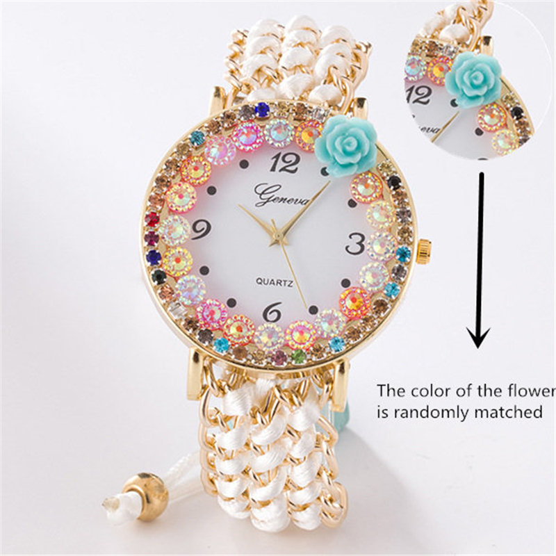 Luxury Handmade Braided Multicolor Crystal Bracelet Watch Ladies Rope Flower Watch Quarzt Watches Wristwatch Relogio Feminino in Women 39 s Watches from Watches