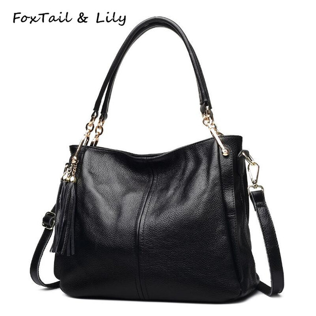 a3dd13f3d336 FoxTail   Lily Famous Designer Genuine Leather Bag Women Real Soft Leather  Handbags with Tassels Lady