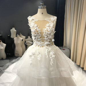 Image 2 - Leeymon งาช้างชุดแต่งงานเซ็กซี่ Illusion Top ไข่มุกชุดลูกยาวแขนกุดแต่งงานชุดเจ้าสาว Robe de mariee