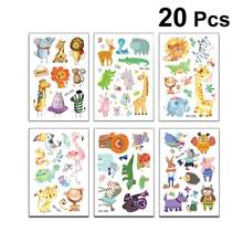 20pcs Cute Temporary Animals Patterns Waterproof Cartoon Decal Cartoon Sticker Tattoo Sticker for Costume Party Decoration(China)