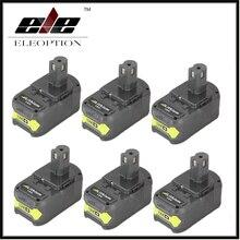 6x Eleoption P108 18V 4000mAh Li Ion Battery For Ryobi RB18L40 P300 P400 Rechargeable Power Tool