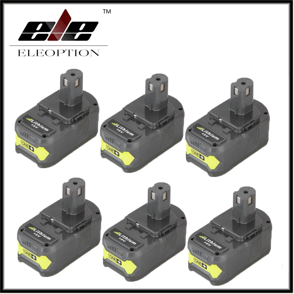 6x Eleoption P108 18V 4000mAh Li Ion Battery For Ryobi RB18L40 P300 P400 Rechargeable font b