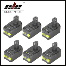 6x Eleoption P108 18V 4000mAh Li-Ion Battery For Ryobi RB18L40 P300 P400 Rechargeable Power Tool Battery Ryobi ONE+