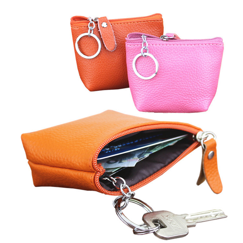 BLEVOLO Mini Lady Coin Pocket Soft Leather Small Wallets For Women Zipper Clutch Purses Keychain Wallet Female Card Coins Purse