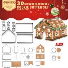 10 шт. 3D декорации из нержавеющей стали для рождественского печенья, набор для печенья, форма для печенья, дом, резак для помадки, инструмент для выпечки