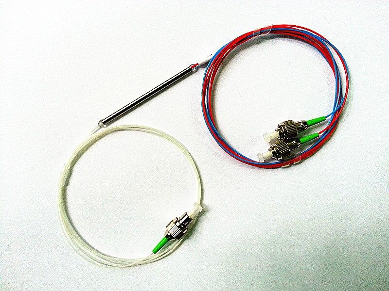 Free Shipping 0.9mm 1x2 50:50 Coupling ratio SM Dual Window Fiber optic Splitter with FC/APC FBT 1x2Splitter