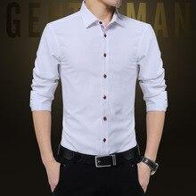 Мужская одежда Рубашки для мальчиков Slim Fit с длинным рукавом Мода Весна Solid Oxford Корейская одежда Для мужчин офисная рубашка Лидер продаж плюс Размеры M-5XL