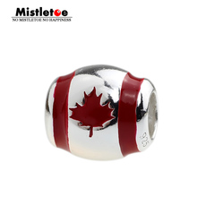 Genuine 925 Sterling Silver Beach Canada Flag Red & White Enamel Charm Beads Fit Brand Bracelets Bangles DIY Jewelry(China)