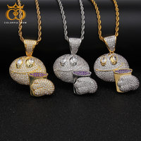 colorful.gem hip hop Jewelry Beautiful Pendant Funny Emoji Toast Paved Sparkling Crystal Zirconia Stone Pendant Refined Necklace