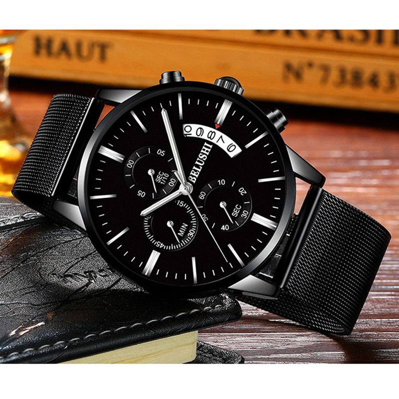 Top Luxusmarke Chronograph Voller Edelstahl Mesh Männer Uhren herren - Herrenuhren