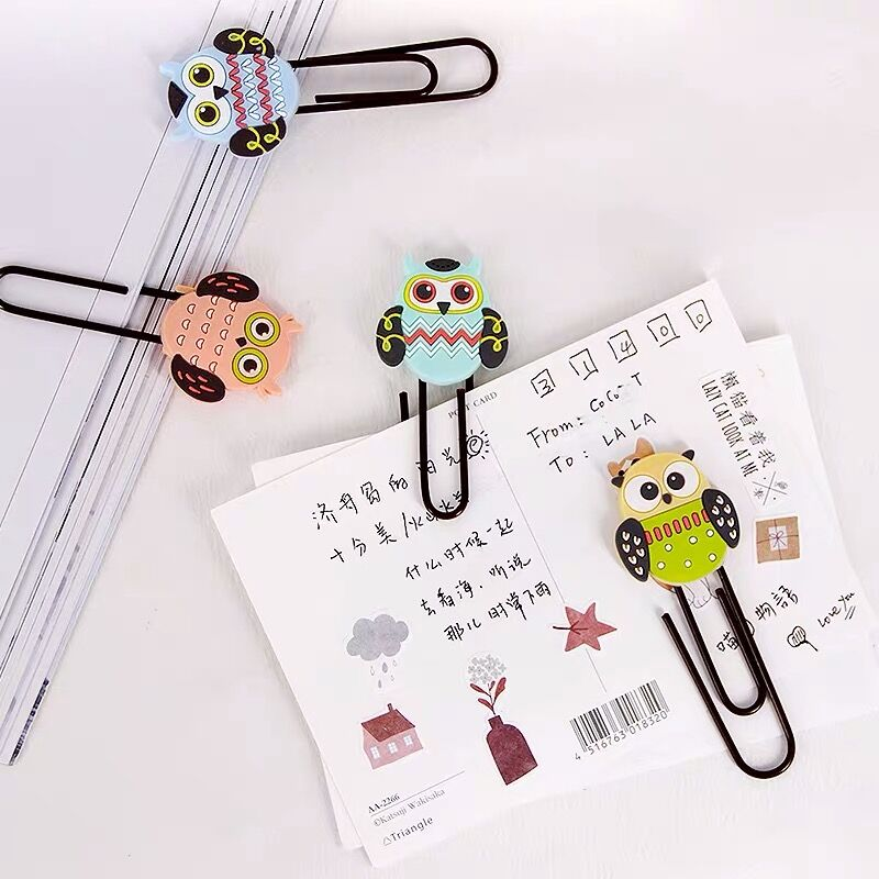 8pcs/lot Creative Kawaii Owl Animal Metal Paper Clip Cute Bookmark Decorative File Memo Clips School Stationery