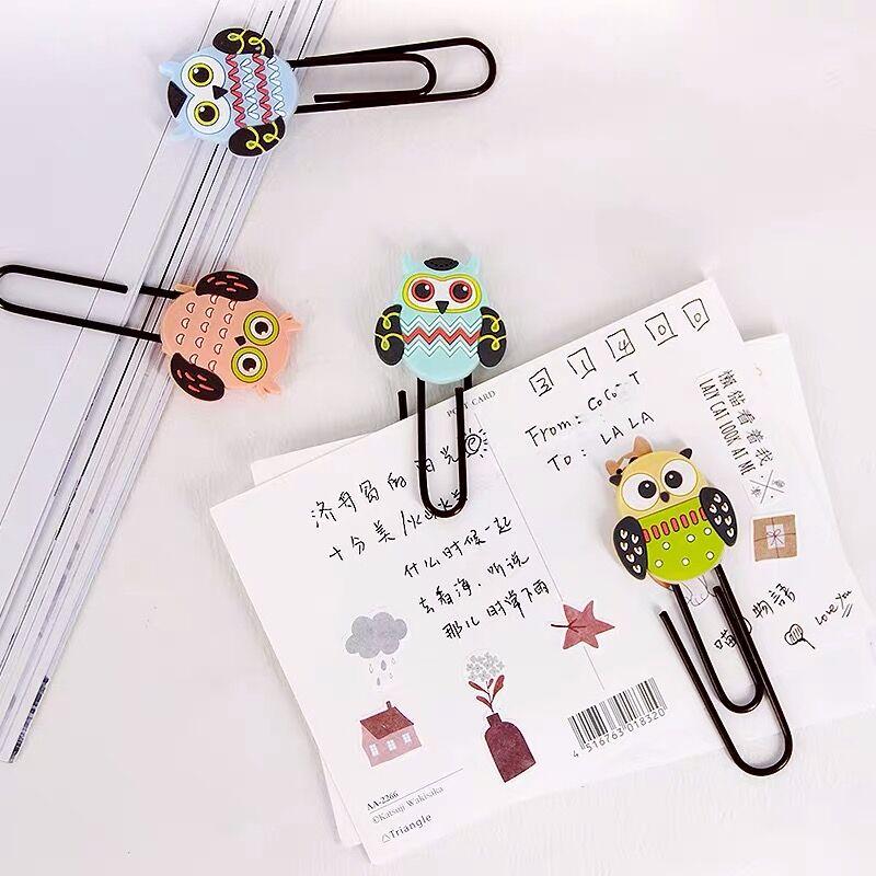 8pcs/lot Creative Kawaii Owl Animal Metal Paper Clip Cute Bookmark Decorative File Memo Clips School Stationery
