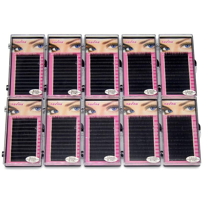 Navina Wholesale 10cases/Lot 0.15D Natural Silk Eyelashes Professional Soft Extension Individual Fake False Eye Lash for Makeuplashes eyelashessilk eyelashessilk eyelash extensions -