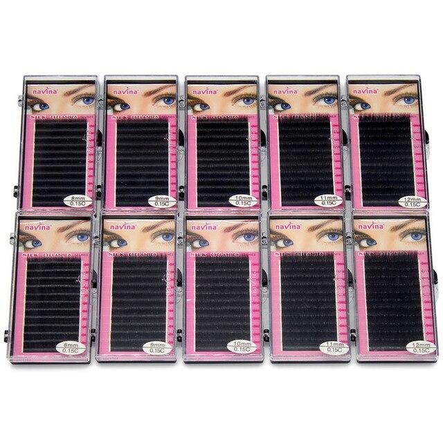 Navina faux cils professionnels en soie naturelle, doux, 0,15d, 10 étuis/Lot, accessoire de maquillage, vente en gros