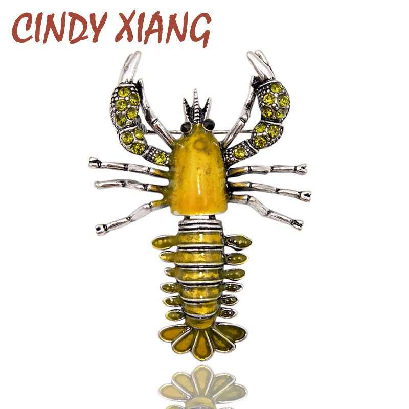CINDY XIANG New Arrival Yellow Color Enamel Lobster Brooches for Women Vintage Vivid Animal Pins Coat Accessories Kids Good Gift
