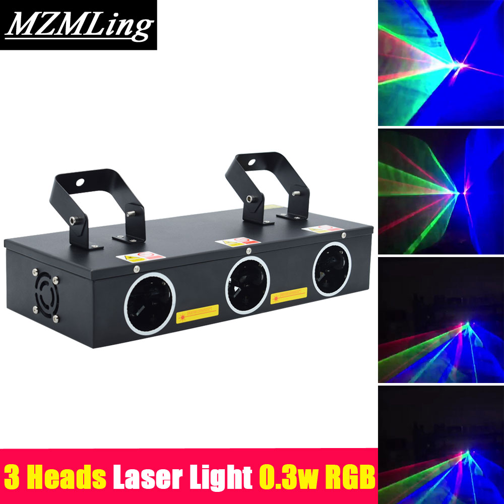 Hot 3 Heads Laser Light 0.3w RGB R 100mw, G 45mw, B 120mw DMX512 DJ /Bar /Party /Show /Stage Light LED Stage Machine ...