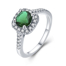 Round Green Bule Light CZ Wedding Rings for Women Sliver Color Jewelry Luxury Engagement Square Bague Zirconia