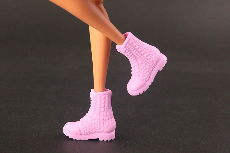 1//6 Barbie Doll Light Pink Peep Toe Ankle Boot Hi Heels Shoes