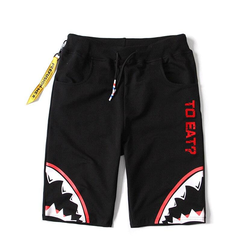 Summer Cartoon Shark Print Trousers Casual Elastic Waist Loose Shorts Men Cotton Boardshorts Brand Clothing 2019 New Arrival