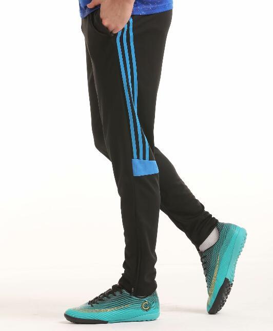 Футбольные тренировочные штаны мужские футбольные штаны из полиэстера с карманом на молнии для бега фитнес тренировки спортивные брюки для бега - Цвет: Зеленый