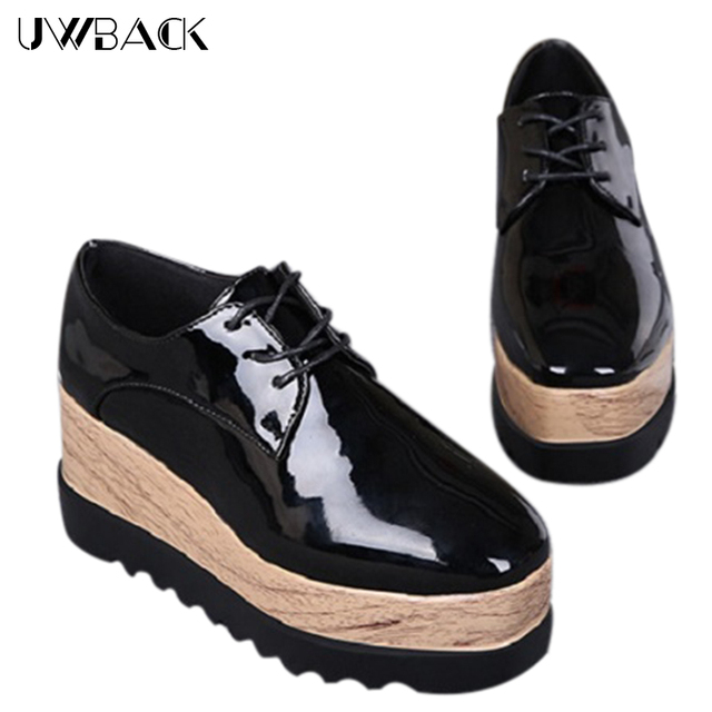 2017 New Brand Spring Leather Shoes Women Mixed Color Lace-Up Flat Platform Casual Shoes Mujer Korean Style PU Soft Shoes XJ188