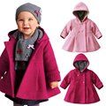 Baby Toddler Girls Fall Winter Horn Button Hooded Baby Girl Winter Warm Wool Blend Pea Coat Snowsuit Jacket Outerwear Clothing