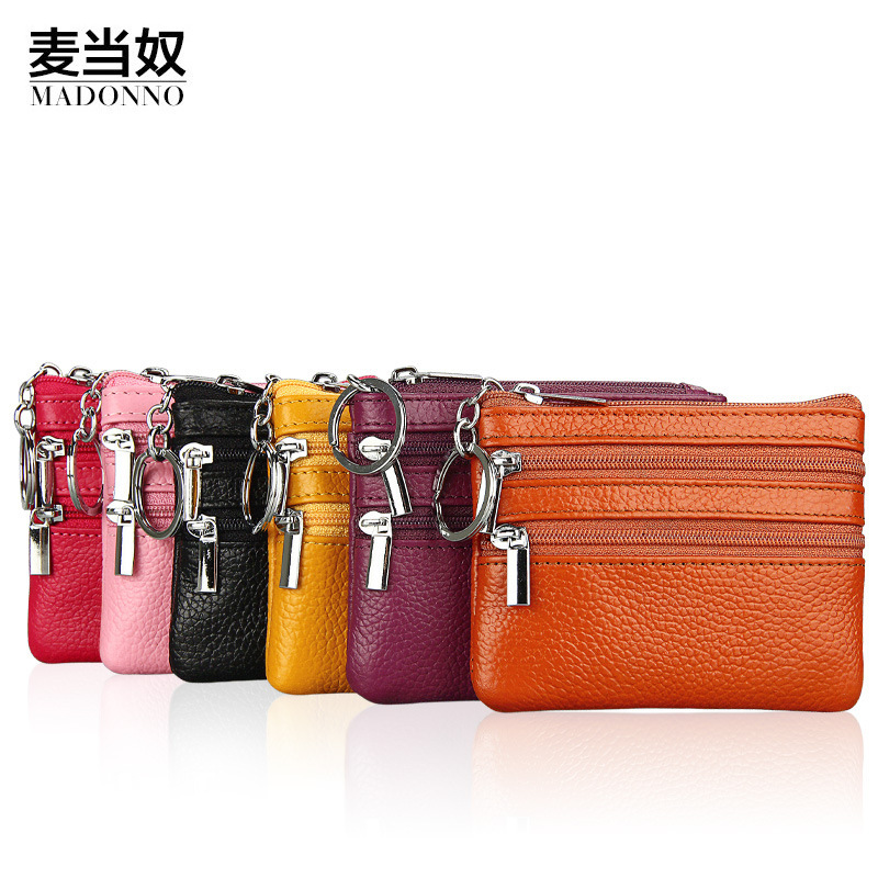 Genuine Real Leather Women Wallets And Coin Purse Fashion Small Change Money Bag With Zipper Key Chain Candy Color Small Wallet