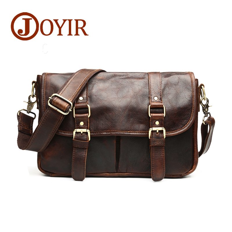 JOYIR Genuine Leather Men Small Shoulder Bags Vintage Leather Messenger Crossbody Travel Bag Handbag for Men Male Bag B542 hot 2017 genuine leather bags men high quality messenger bags small travel black crossbody shoulder bag for men li 1611