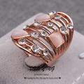 WinWinWin Big Oval Anéis Para As Mulheres Anéis de Moda Atraente Kpop Anillos Arqueado Oco Rose Gold Filled Anel de Ouro Jóias de Opala