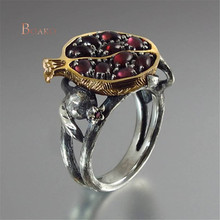 Vintage Natural Stone Rings/Garnet Ring for Women Fashion/Red  Pomegranate Rings Rhinestone Flower anel bague femme Jewelry Z4 rhinestone vintage flower ring