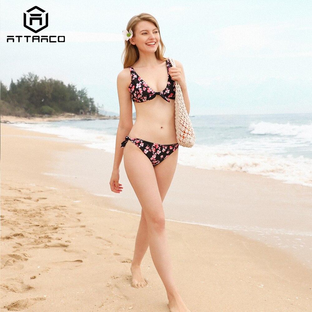 Attraco Bikini 2019 New Women Swimsuit Print Graceful Floral Sexy Swimwear Strappy Sets Beachwear